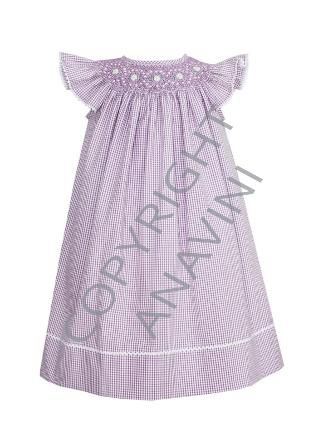 Lilac Gingham Angel Sleeve Dress - 30% OFF!  $41