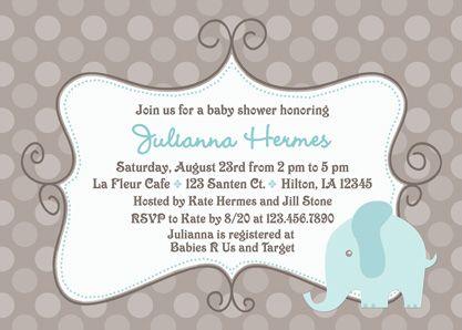 elephant baby boy shower decorations | blue elephant our blue, Baby shower invitations