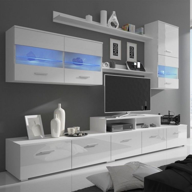 White Tv Entertainment Unit Center High Gloss Storage Furniture Modern Style  New
