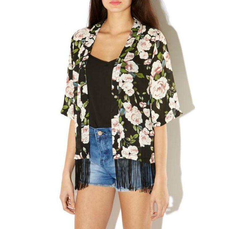 Women Floral Printed Chiffon Cardigan Tassel Shawl Kimono Jacket ...
