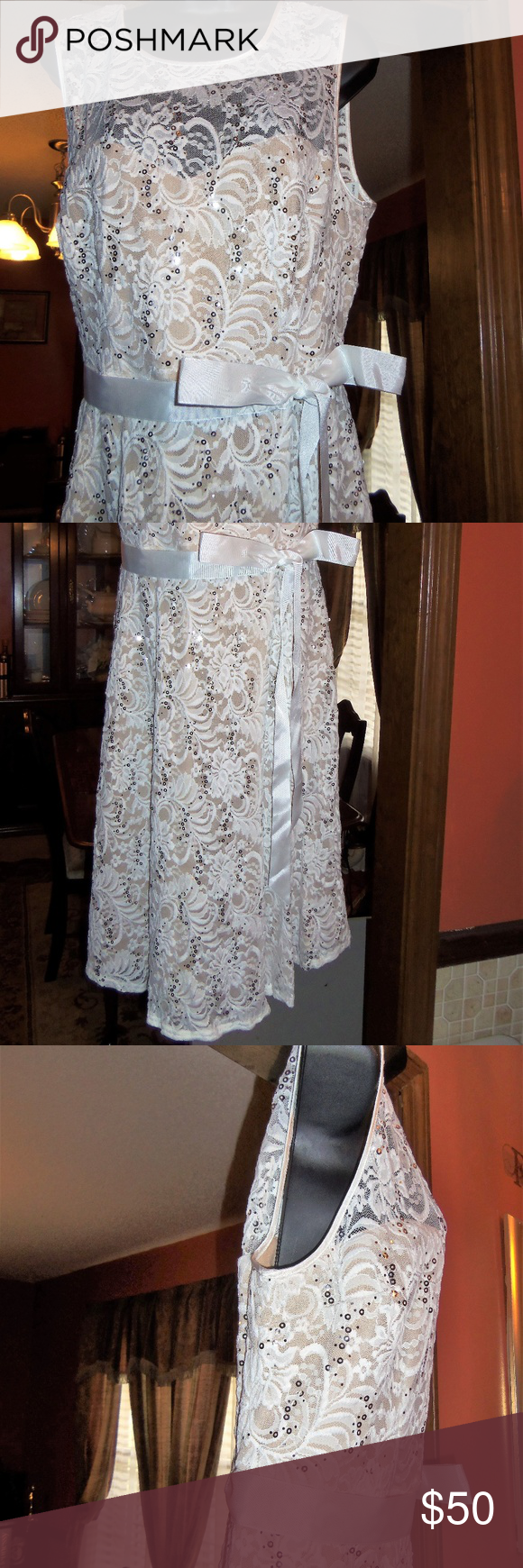 501d37eaa81 Ashley Stewart by R M Richards Sequin Ivory Dress Perfect for a wedding