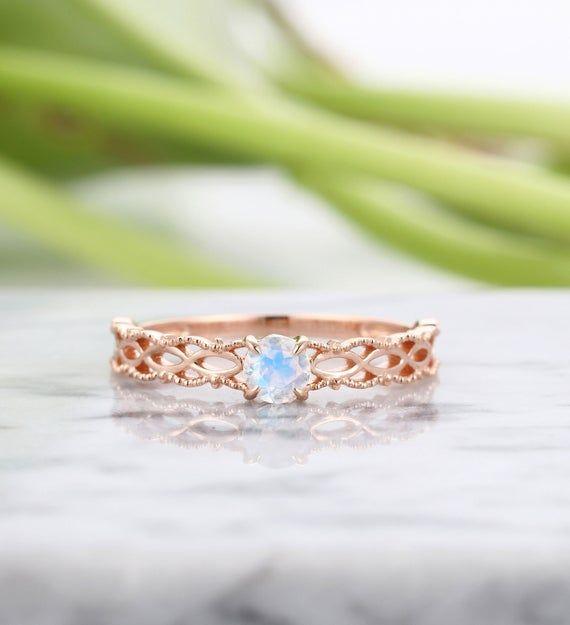 Photo of Moonstone engagement ring rose gold art deco engagement ring women vintage wedding antique Delicate