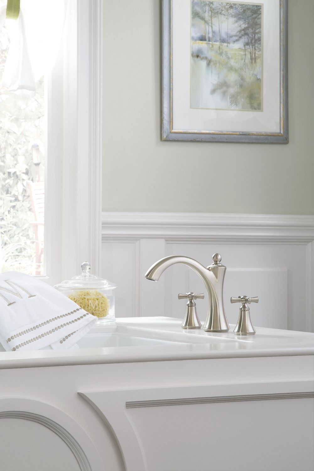 Wynford Brushed nickel two-handle diverter roman tub faucet includes ...