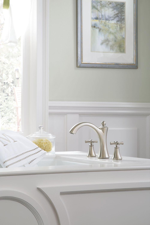 Wynford Brushed nickel two-handle diverter roman tub faucet ...