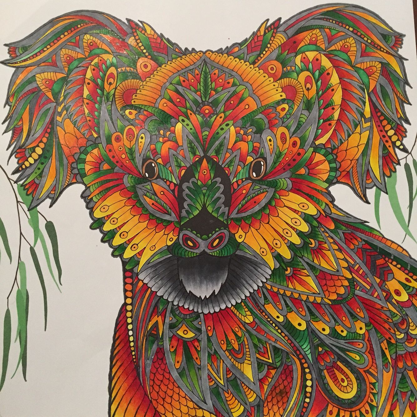 Art therapy coloring book and pencils - The Menagerie Koala Using Copic Markers Koala Illustrationadult Coloringcoloring Bookscopic Markerskoalasart Therapypencil