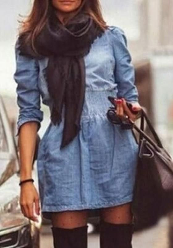 Blue Plain Pockets Zipper Long Sleeve Denim Dress