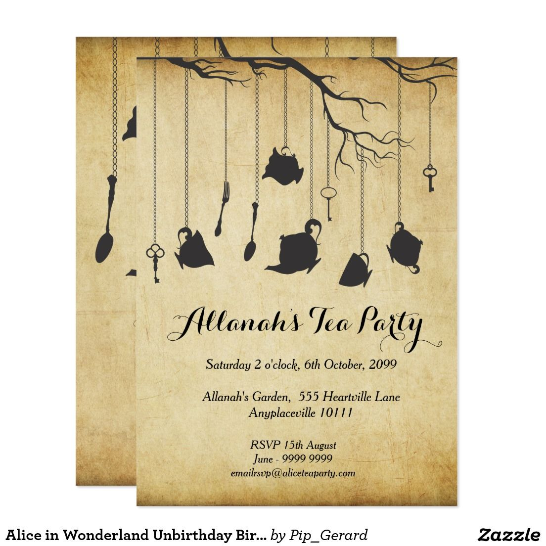 Alice in Wonderland Unbirthday Birthday Tea Party Card | Tea Party ...