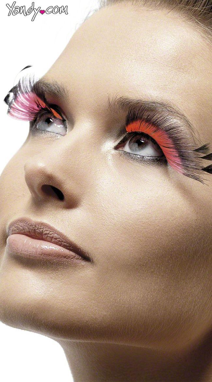 6 Pink And Black Plume Eyelashes Pink Eyelashes With Black