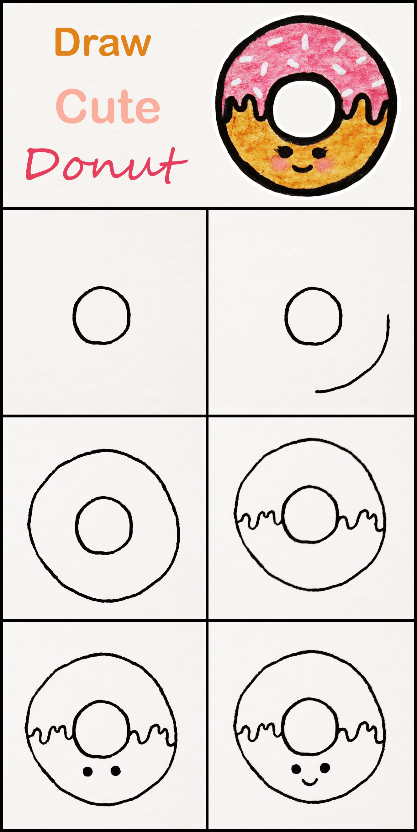 Learn how to draw a cute Donuts step by step ♥ very simple ...