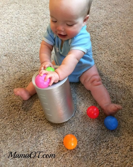 Simple Container Play Activity For Babies. Learn To Put In