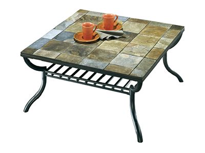 Square Slate Tile Top Coffee Table With Paper Basket Underneath From Ashley Furniture Great In Any Room Where Friends An Tiled Coffee Table Coffee Table Table