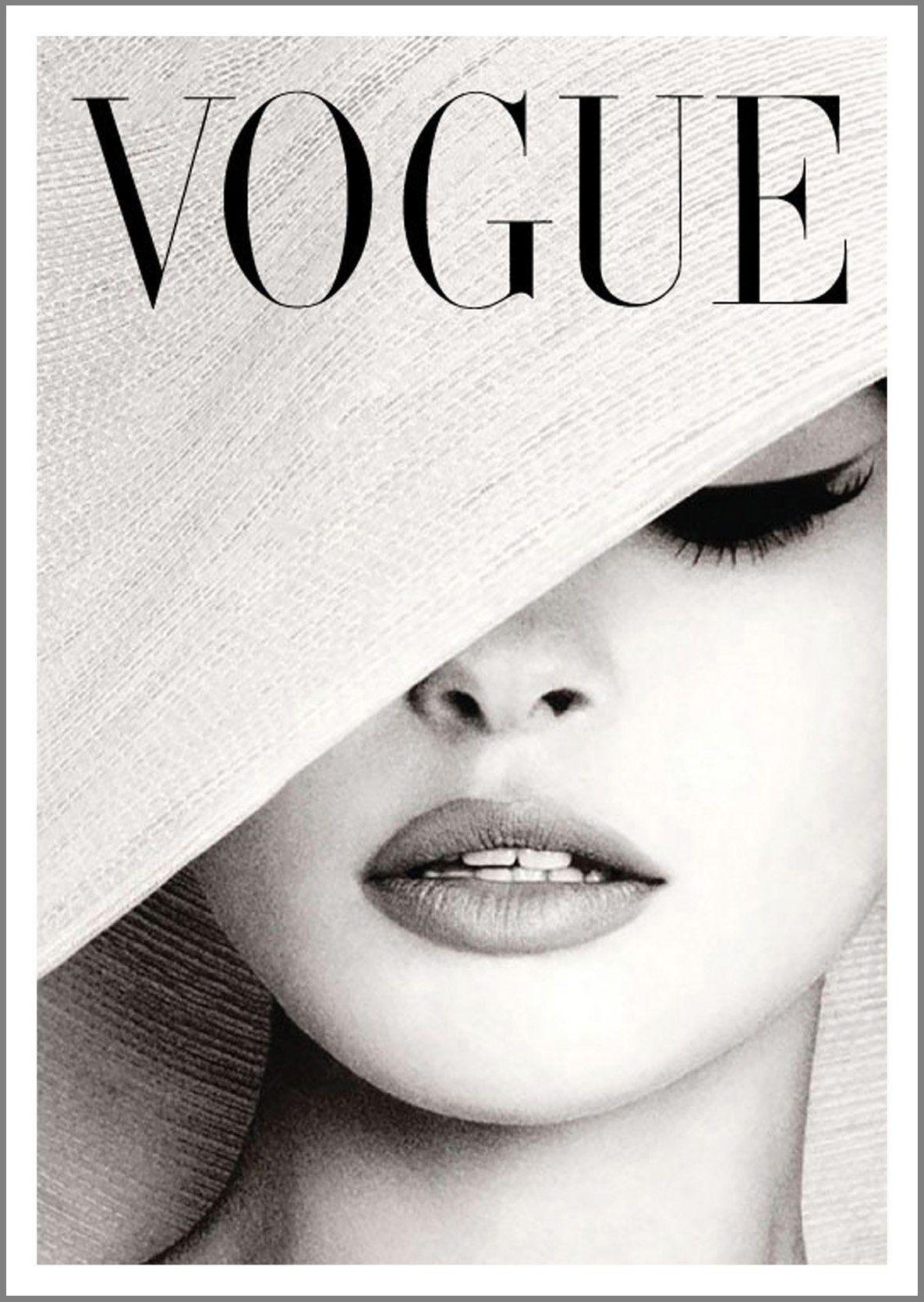 Vintage Print Paper Poster Canvas Framed Art by Vogue black white lady hat