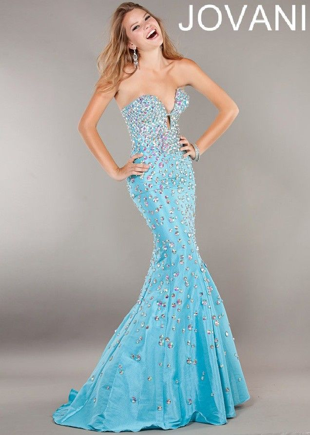 STUNNING Aqua Blue Strapless Beaded Mermaid Gown - Prom Dresses ...
