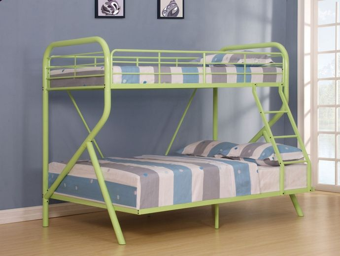 Tracy Collection Twin Over Full Green Finish Tubular Metal Design
