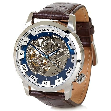 Vince Camuto Men S Silvertone Stainless Steel Brown Leather Strap Automatic Watch