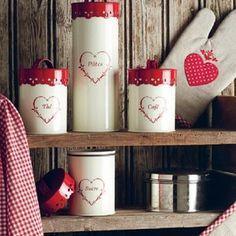 Tablier de cuisine vichy rouge th me montagne rouge et lin - Cuisine campagnarde rouge ...