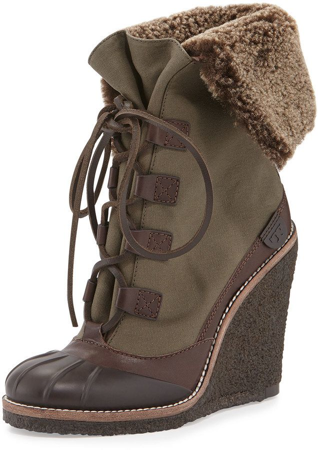 f7f225f4d44 Tory Burch Fairfax Shearling-Lined Wedge Boot