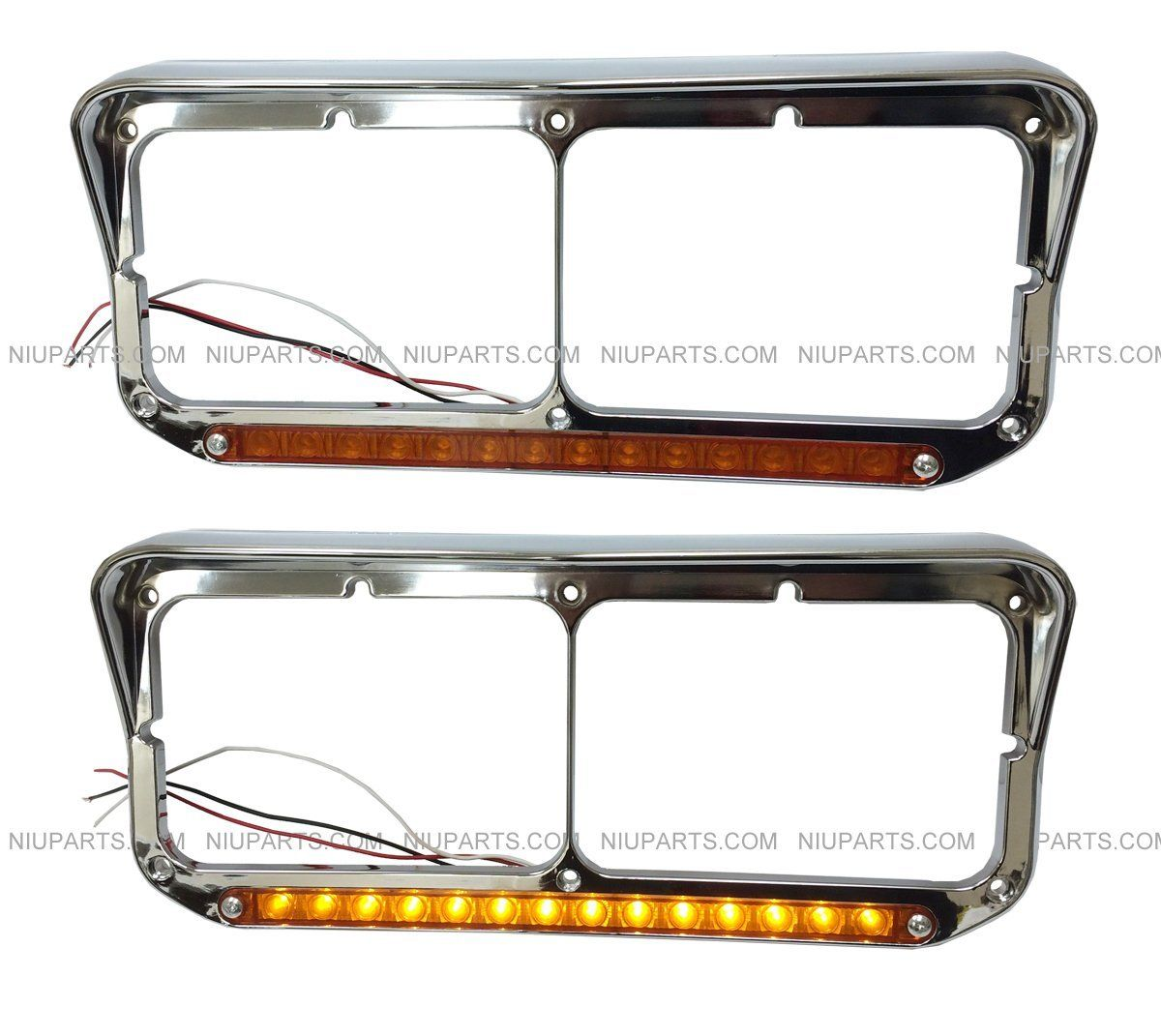 Headlight Bezel With 12 Amber Amber Led Light Strip Chrome Drive And Passenger Side Fit Kenworth T400 T60 Amber Led Lights Led Light Strips Strip Lighting