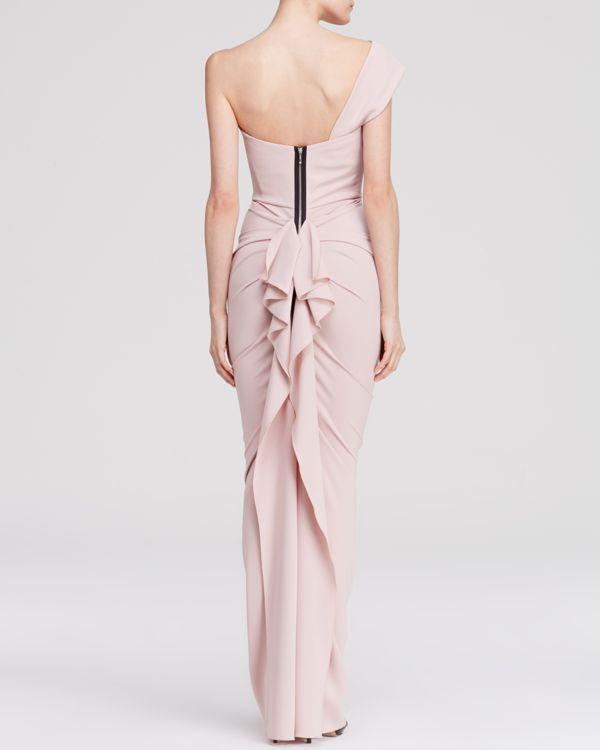 Nicole Bakti Gown - One Shoulder Ruffle Back | Bloomingdale's
