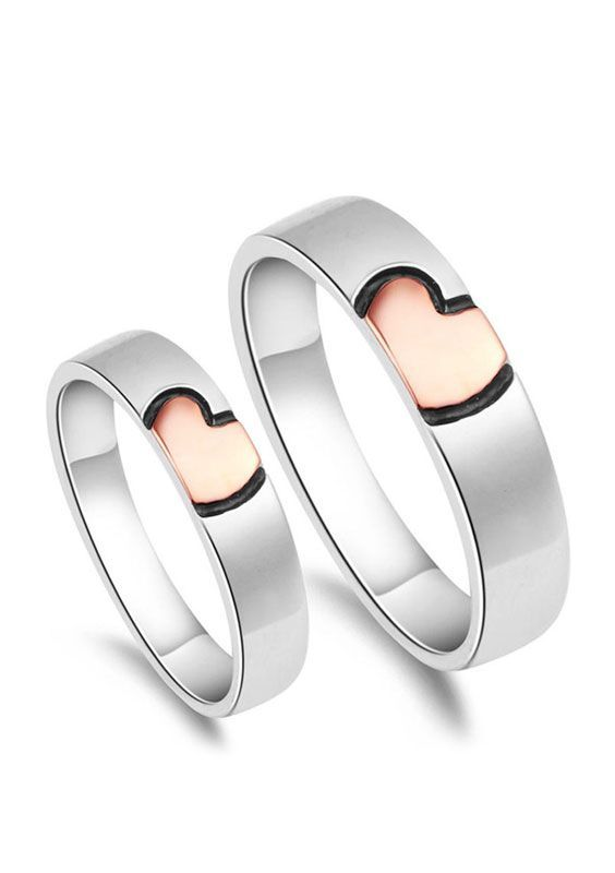 Rose Gold Black Heart Couple Wedding Rings