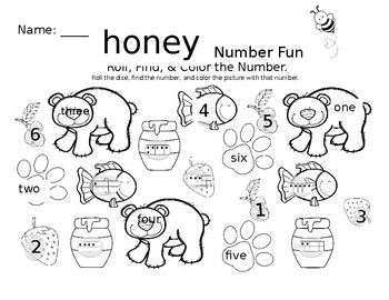 Honey Bear Math Fun Roll Find And Color Worksheet Fun Math Color Worksheets Honey Bear