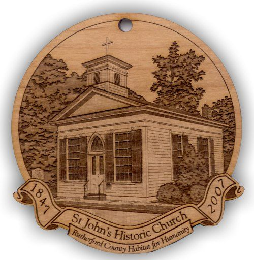 historic church engraved onto a customized wood christmas ornament