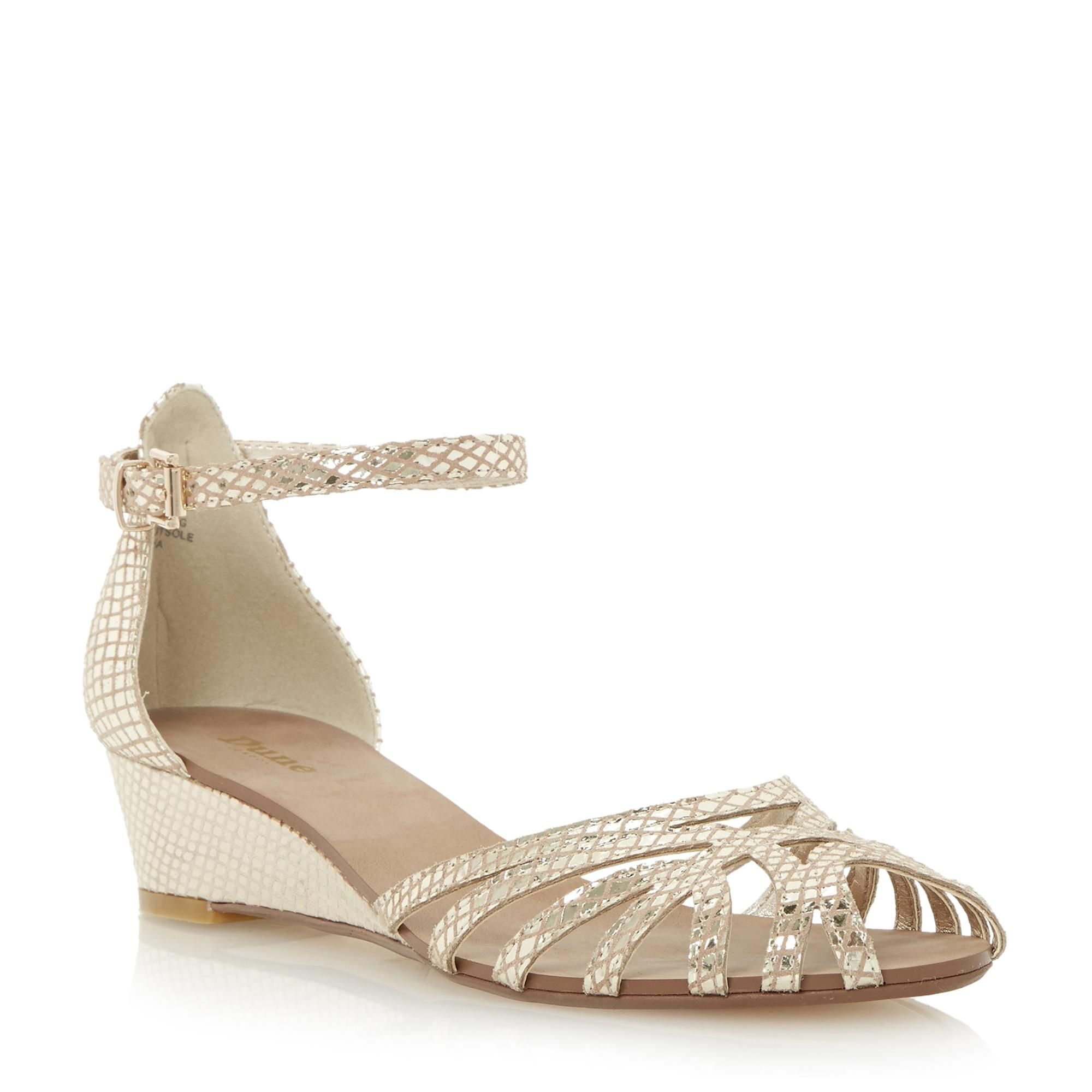 DUNE LADIES KNIGHTLY Caged Front Low Wedge Sandal champagne