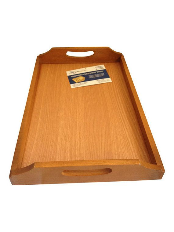 Wooden Tea Tray / Serving Tray with handles 43CM X 28CM by Amwares