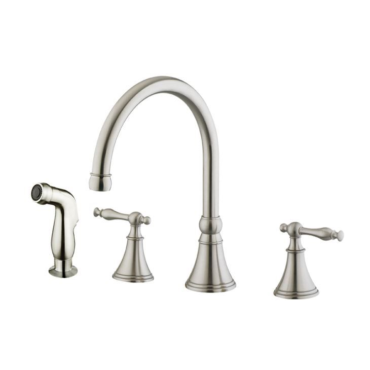 8 Inch Two Handle 4 Hole Kitchen Faucet Solid Brass Kitchen Faucets With  Sprayer For Kitchen