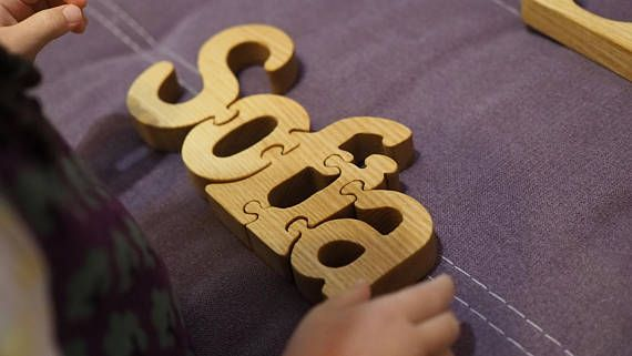 Personalized wooden name puzzle wooden letter baby kids custom personalized wooden name puzzle wooden letter baby kids custom wood name puzzle fathers negle Images