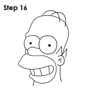 how to draw homer simpson face step by step