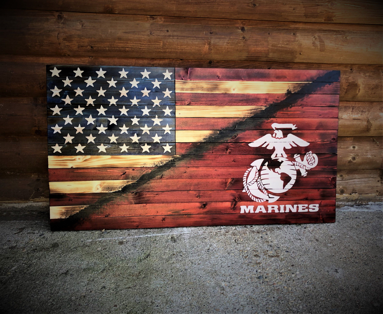 American Marine Flag Marines Wooden Flag Wooden American Etsy American Flag Wood Wooden Flag Wooden American Flag