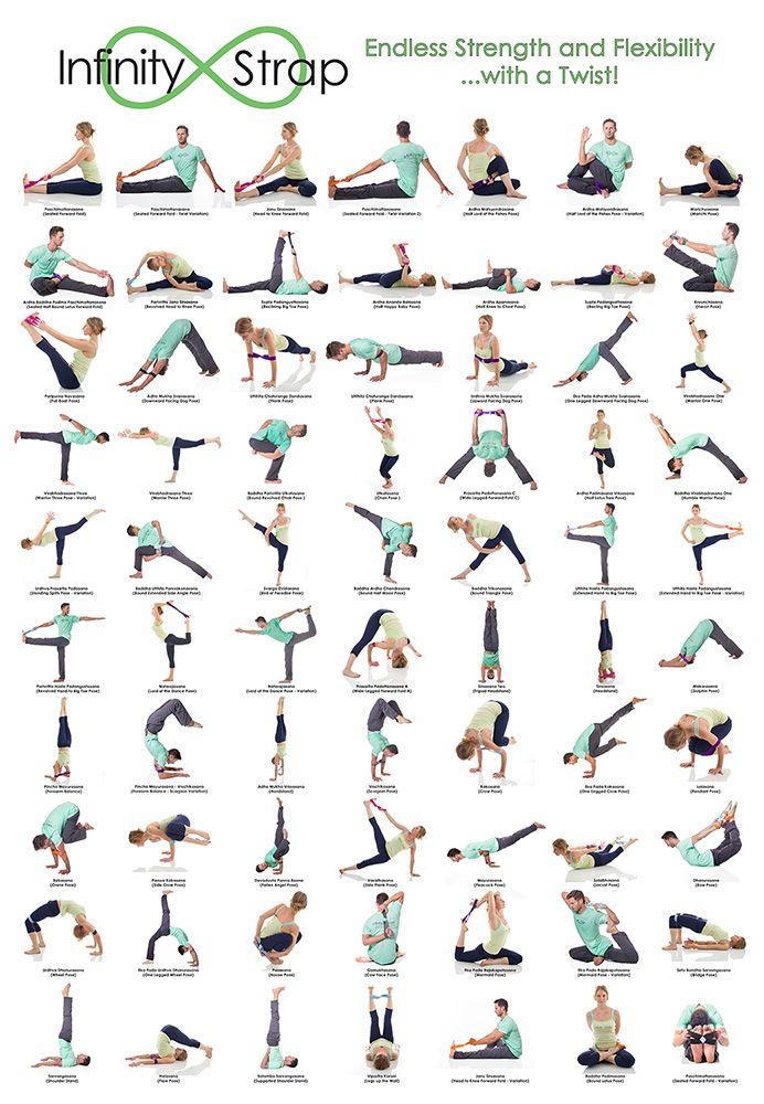 70 Stretches Using Infinity Straps Yoga Poses Names Yoga Poster Yoga Strap Stretches