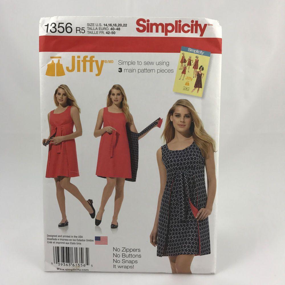 Simplicity 1356 Ladies Plus Size Reversible Dress Sz 14 22 UNCUT ...