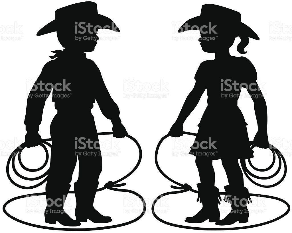 Cowboy and Cowgirl children silhouettes. | Cowboys, Silhouettes and ...