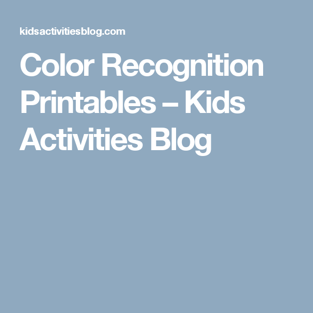 Color Recognition Printables | Kid activities and Activities