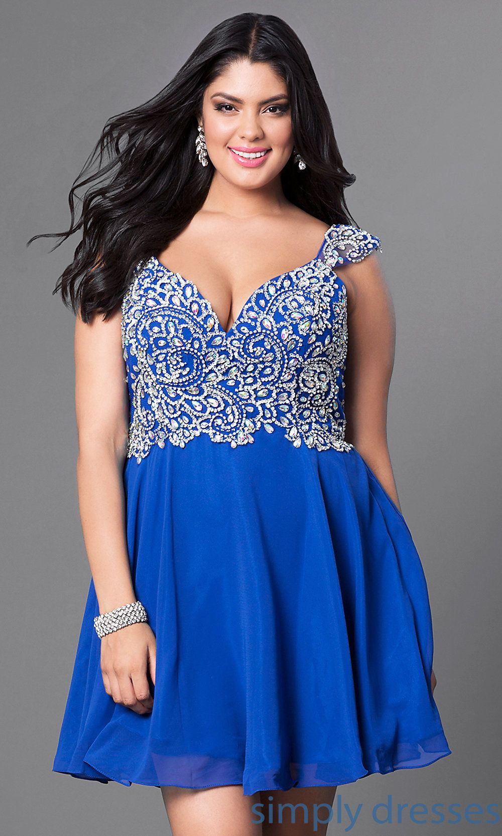 Plus-Size Short Prom Dress with Beaded Bodice in 2019 | Plus ...