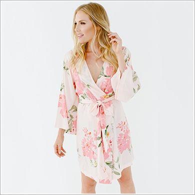 Kimono Style. Knee Length Robe. Persimmon Hears Her Wish(Rayon).