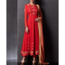 Crimson Red Anarkali Set with Embroidery and Sequins Work
