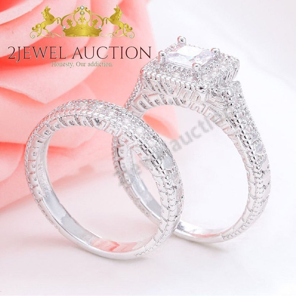 Diamond Wedding Bridal Set 14K White Gold Finish Princess Cut ...