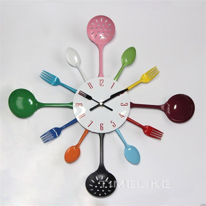 Cutlery design Metal Kitchen Wall Clock with colorful Spoon Fork for