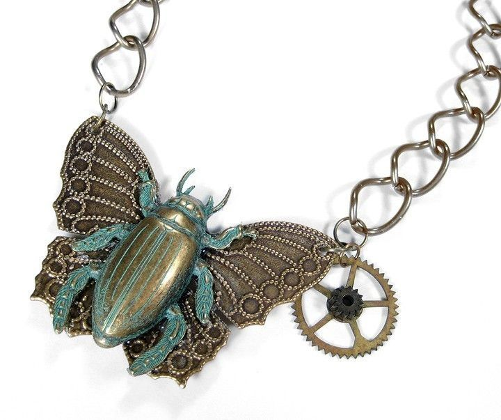 Steampunk Necklace SCARAB Butterfly Pendant Necklace - Brass and Verdigris Gear Detail INCREDIBLE - Steampunk Jewelry by edmdesigns. $145.00, via Etsy.