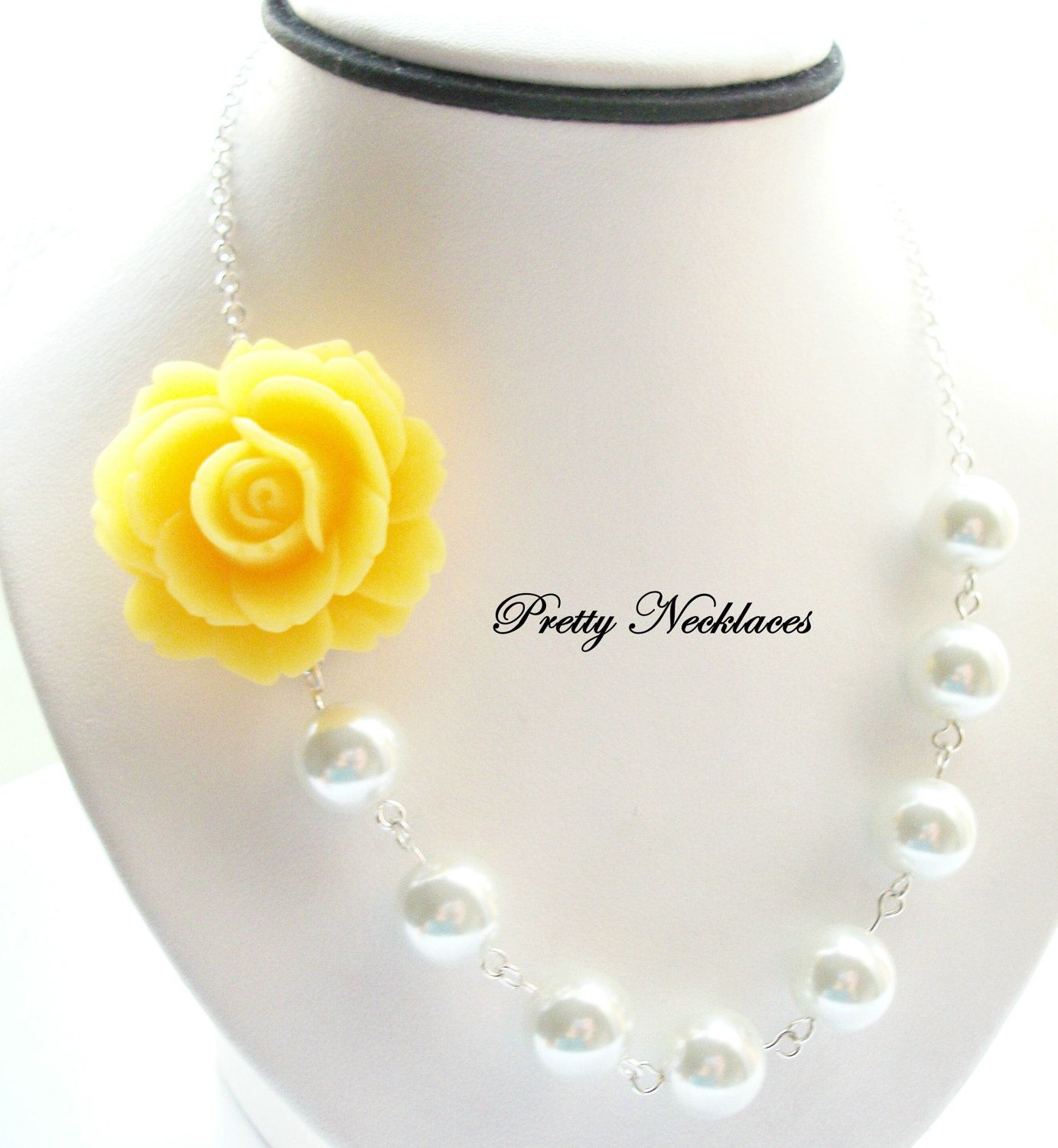 Wedding necklace yellow flower necklace white pearl bridal