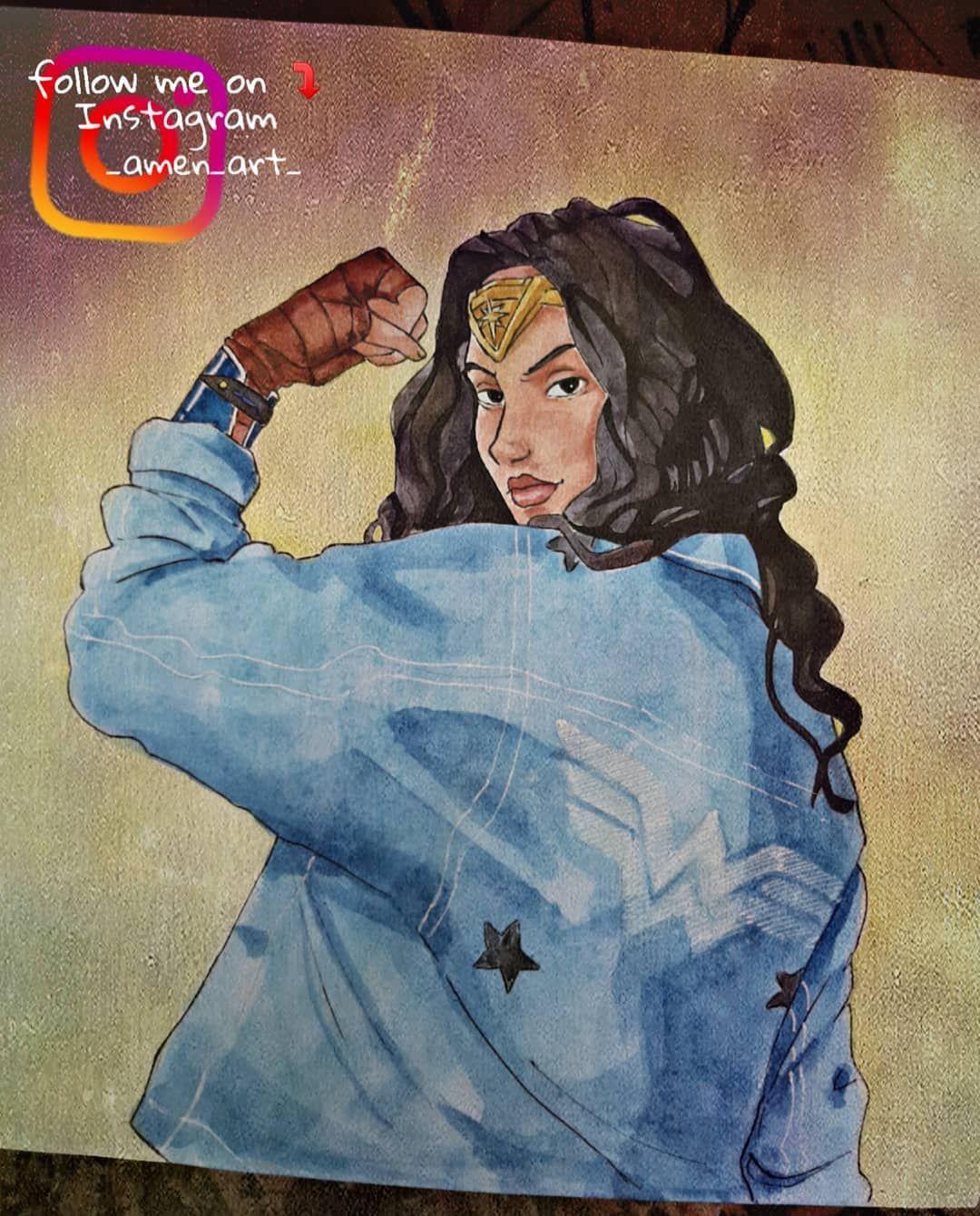 الوان مائيه Wonderwoman Art Artist Draw Drawing رسم رسامين العرب رسامين العراق الوان مائية الوان اقلام فرش Ma Art Disney Characters Character