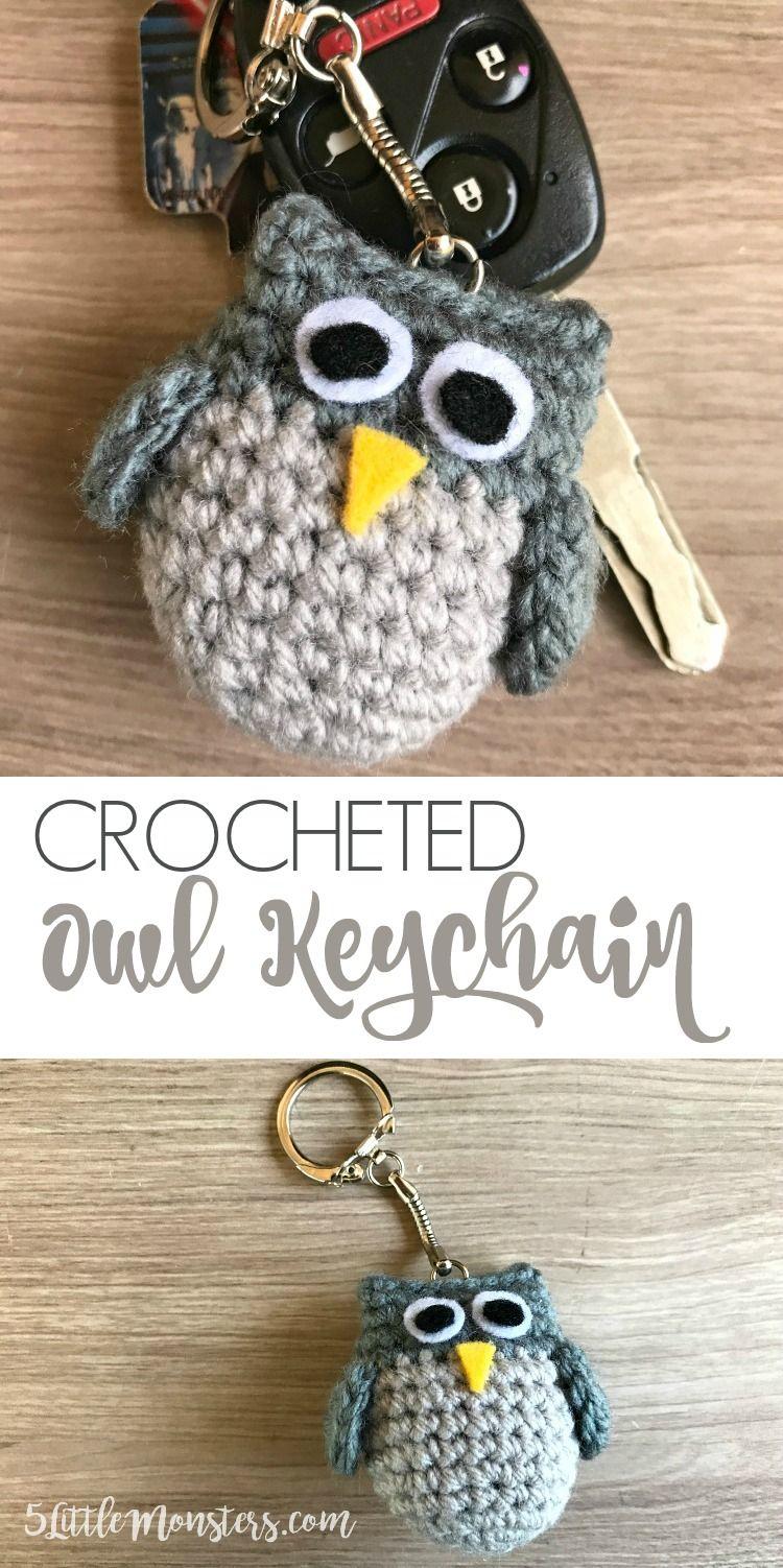 Crocheted Owl Keychain