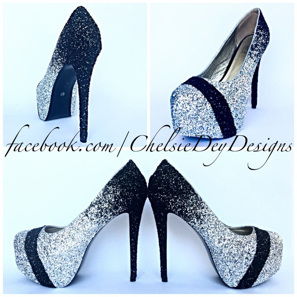 Glitter High Heels - Silver Black Ombre Pumps - Sparkly ...