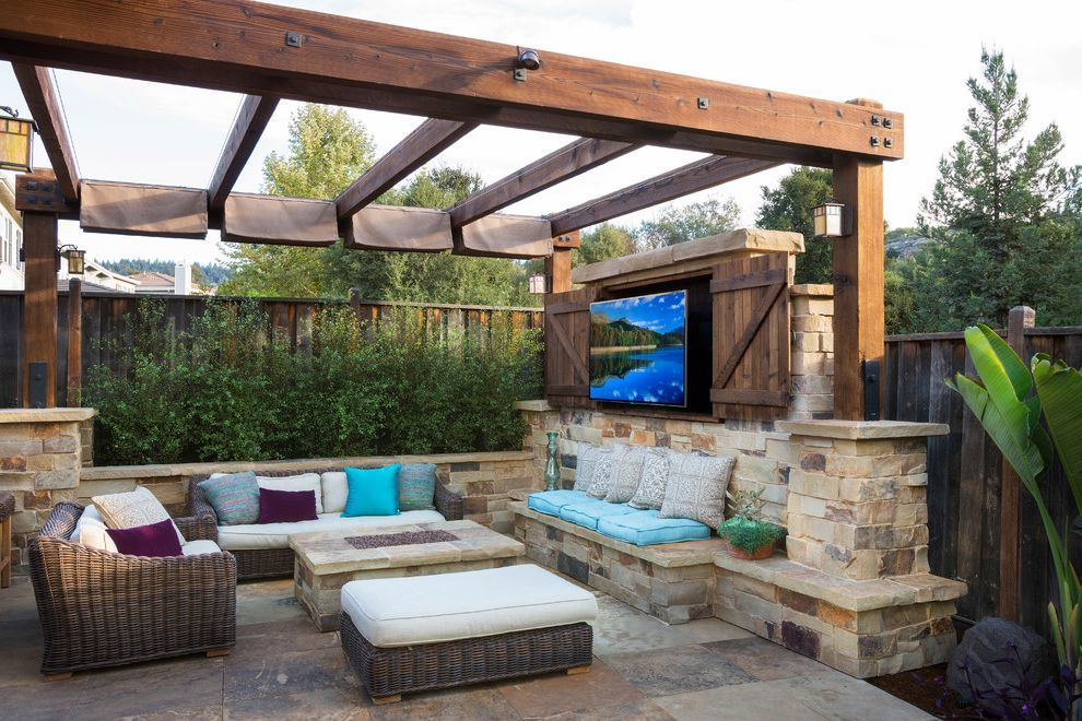 Outdoor Tv Cabinet Plans With Traditional Patio Fire Pit Outdoor