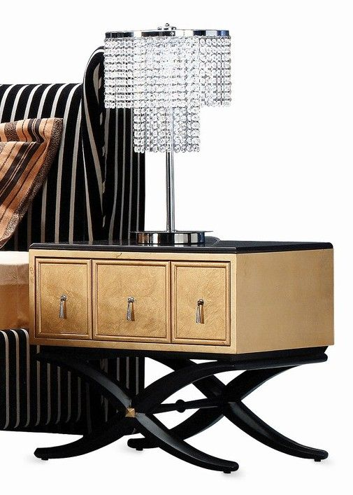 Best Gaston Modern Nightstand In Black Gloss And Gold Frame 640 x 480
