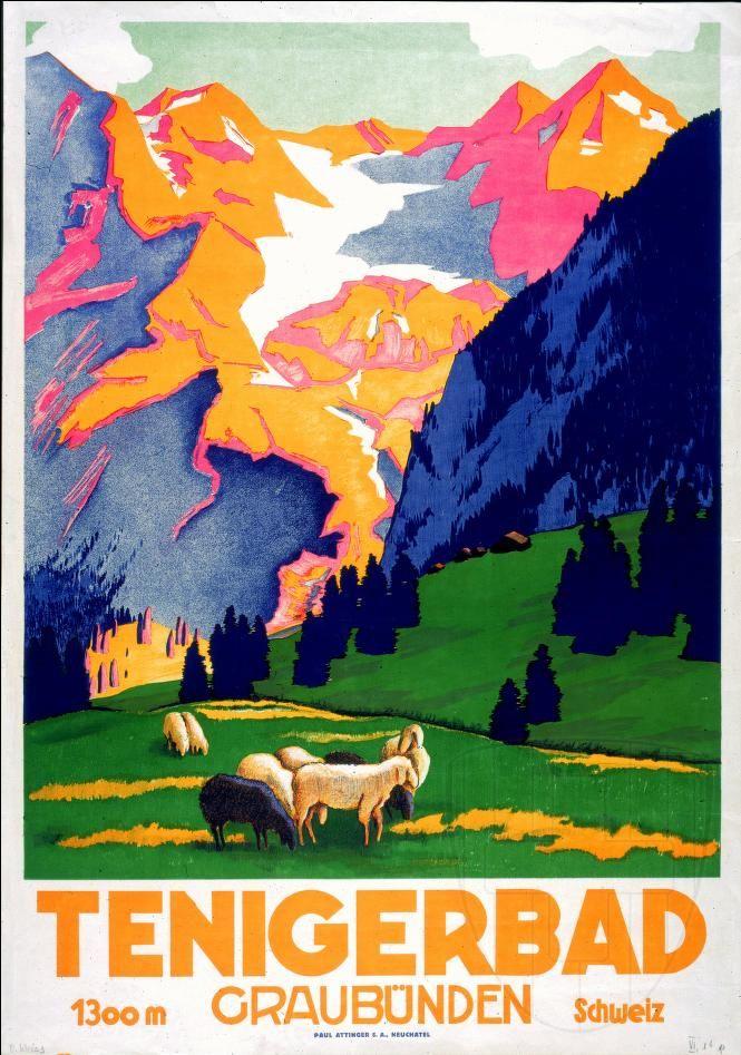 SWITZERLAND - Tenigerbad Graubunden Schweiz - Weiss, Oscar ca. 1930.   #VintageTravel poster #WINTER