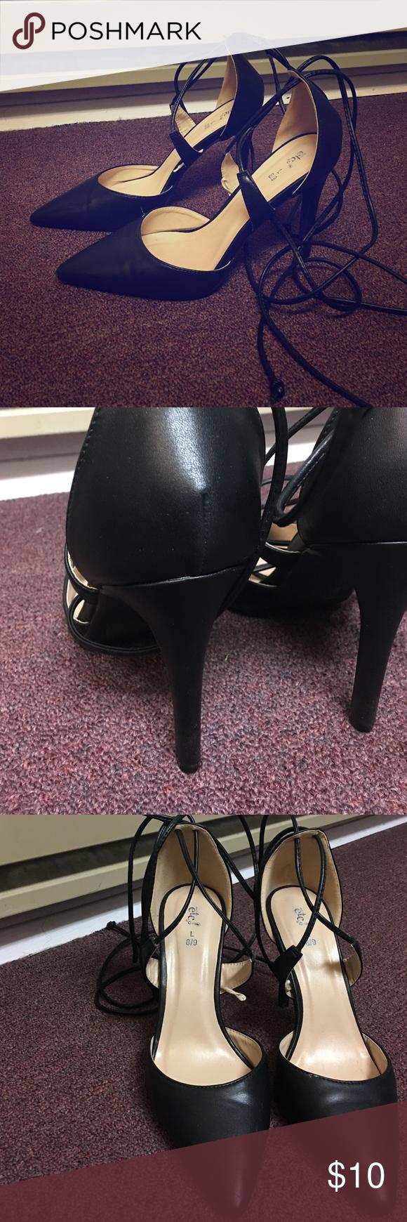 Tie Up Pointy Pumps Black Heels, Cute, Barely Worn, In Great Shape Rue 21 Shoes Heels